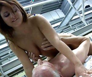 Brunette slut fucks horny grandpopz at the warehouse