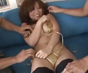 Threesome sex adventure along busty  Konatsu Aozona