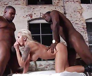 Nina Elle in a hard interracial threeway