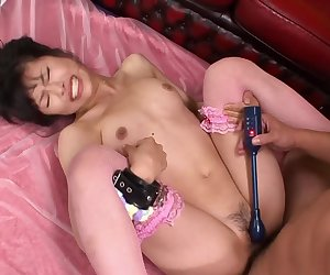 Pretty in pink Asian girl gets an anal & pussy creampie
