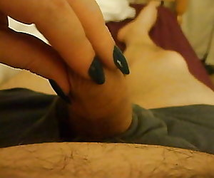 Long Green Nails Handjob