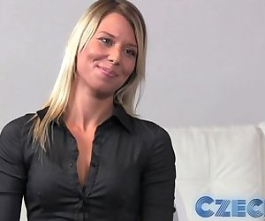 Czech - Blonde takes two dicks in Casting