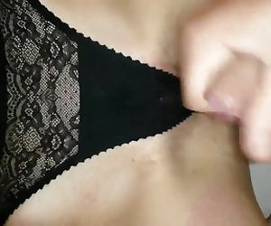 Panty play cumshot with my girlfriend 4