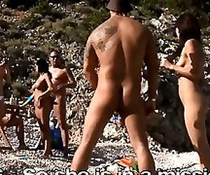 European beach sexgames with nymphomaniac bikini babes