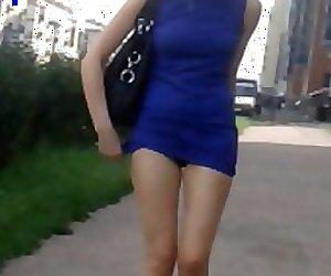 Sharking sexy blonde miniskirt hot panties and legs