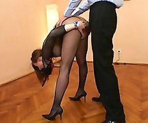 Horny hottie in action with a big cock