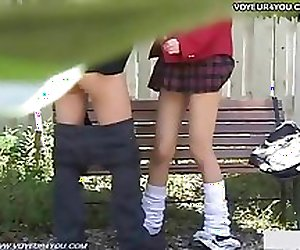 Naughty Schoolgirl Outdoor Bench Sex Festival