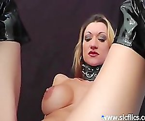 Busty milf loves fisting and huge dildo inser