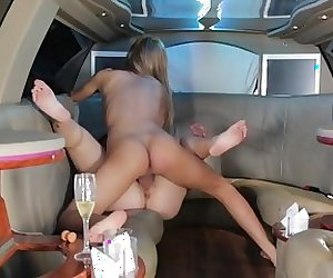 Limousine, brunette big boobs girl and blnde tranny