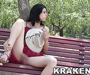 Krakenhot - Cute brunette teen in an outdoor porn casting