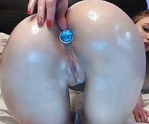 Teen fucking creamy pussy and ass dildo vibrator
