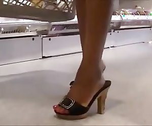 Candid High Heels In Supermarket