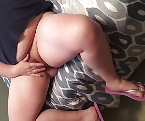 BBW wife pussy play with flip flops