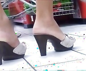 Candid Open High Heels In Supermarket