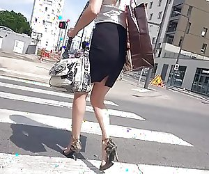 Slow Motion Sexy MILF with bare legs and high heels