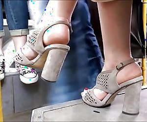 Candid Open High Heels In Public