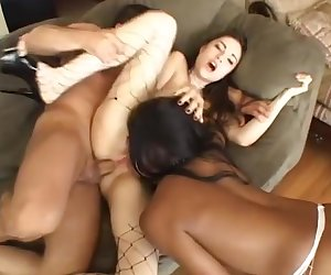 Hottest pornstars Vanessa Monet and Sasha Grey in horny black and ebony, threesomes adult scene