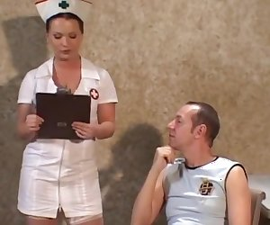 Sexy nurse helps out her patient